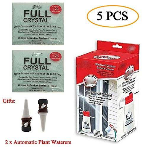 On Waterer As Seen Tv (Full Crystal Window Cleaner All Purpose Outdoor Glass Cleaners As You See On TV with 2 Packs Powder and 2 Packs Automatic Plant Waterers)