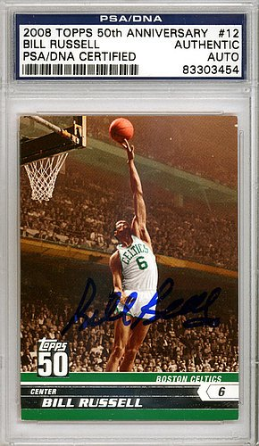 Bill Russell Signed 2008 Topps 50th Anniversary Trading Card #12 Boston Celtics - Certified Genuine Autograph By PSA/DNA - Basketball Collectible from ItsAlreadySigned4U