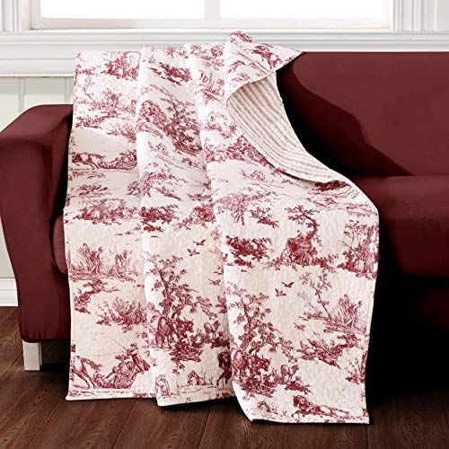 Greenland Home Classic Toile Throw Quilt, Red (Classics Home)