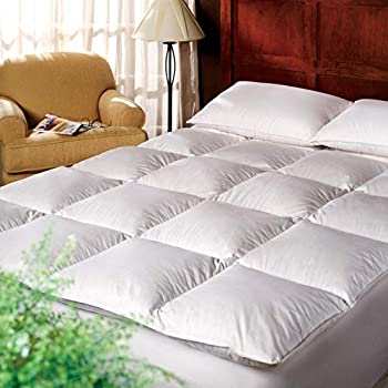 Image of Home and Kitchen 1221 Bedding Cotton 3-inch Down Alternative Fiber Bed Mattress Topper - White King