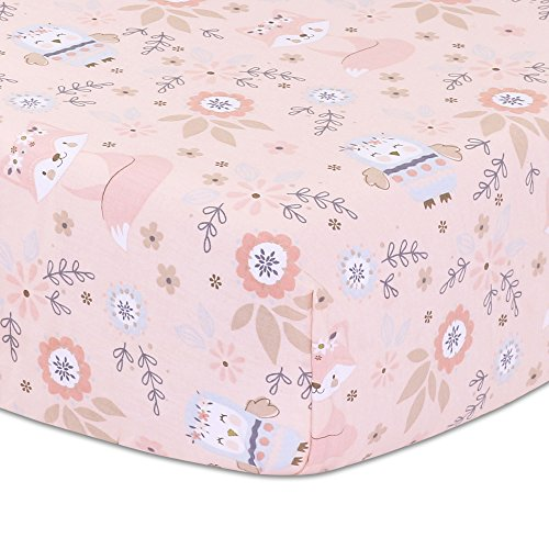 Woodland Friends Owls and Foxes Baby Girl Fitted Crib Sheet - Dusty Rose Pink by Little Haven