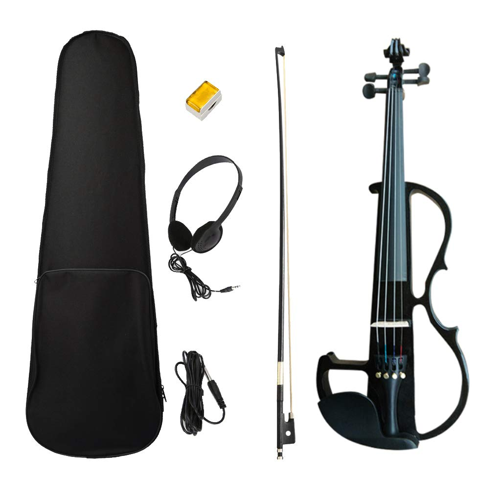 kesoto 4/4 Full Size Electric Silent Violin Set for Violinist Adults Beginners - Black