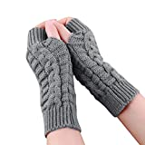 Kalmstore 3 Pairs Knitted Fingerless Gloves Winter Stretchy Short Arm Warmers Mittens Thumb Hole Gloves for Women Girls (Gray)