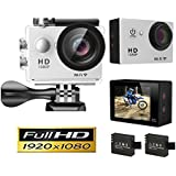 Goldwangwang 1080p WIFI Sports Action Camera 12MP HD Waterproof Camcorder 2 Inch LCD Screen 140 Degree Wide Angle Len W/ 2 Rechargeable Batteries White