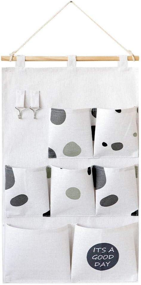 FGHOMEYWXK Almacenamiento nórdico de algodón y Lino Colgando Bolsa de Almacenamiento de Pared-guijarros en Blanco y Negro_34.5 * 58cm: Amazon.es: Hogar