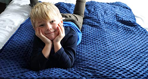 Goldenratios Weighted Blankets 5 lbs For Kids - 36x48 Inches For A Child Between 30-70 lbs | Navy Blue Dotted Minky Cover With Grey Blanket 100% Cotton With Hypoallergenic Glass Beads. Helps Children With ADHD, Autism, Insomnia And Anxiety Sleep Better