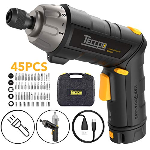 Electric Screwdriver, 6Nm TECCPO Cordless Screwdriver, 4V 2000mAh Li-ion, with 45 Free Accessories, 9+1 Torque Gears, Adjustable 2 Position Handle with LED, USB Rechargeable - TECCPO TDSC01P