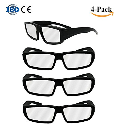4 Pack Black Plastic Eclipse Glasses Ce   Iso Certified 2017 Safe Solar Eclipses Viewing Shades Block Sun Ultraviolet Uv Lights Goggles