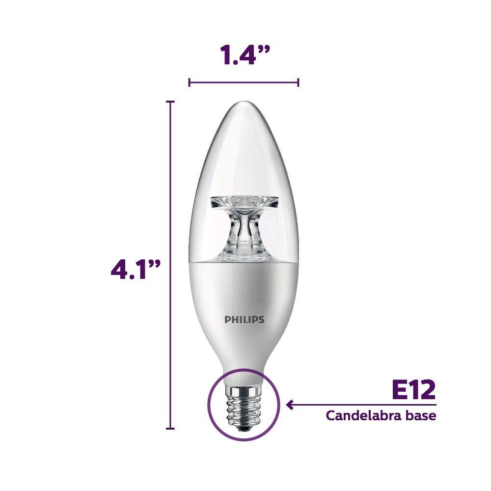 40-Watt Equivalent 4.5-Watt Philips LED Dimmable B11 Clear Candle Light Bulb: 300-Lumen 2700-Kelvin E12 Base Soft White