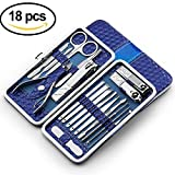 Stainless Steel Manicure, Pedicure Kit, Nail Clippers, Professional Grooming Kit, Nail Tools with Luxurious Travel Case, Set of 18 Foot, Makedoing Manicure Pedicure Set for Mens & Women, Blue
