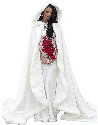 Abrigo de Boda Blanco Largo de Invierno de la Mujer Abrigo de Abrigo de Novia cálido
