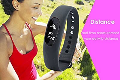 Smart Bracelet,Pashion Bluetooth Sync Smart Bracelet Sports Fitness Tracker Water Resistant(IP64) Sleep Monitoring Smart Bracelet Wristband with Touch Button (Black(With Bluetooth))