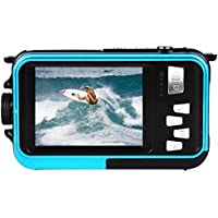 Amkov 24MP Underwater, Shockproof and Dustproof Digital Camera with Dual Full-color LCD Displays, 16X Digital Zoom, and Fully Waterproof for up to 10 Feet(Blue)
