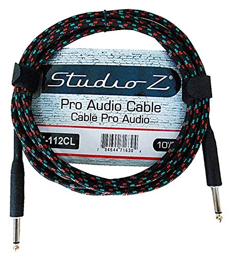 Studio Z 20 Foot Guitar Audio Instrument Cable 1/4-Inch Gold Tips TS Straight 1/4-Inch 20FT Black Green Gray Tweed Cloth Jacket Durable Built To Last