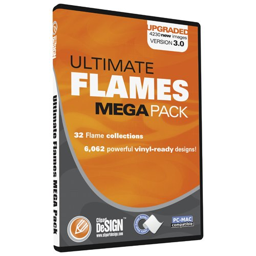 Flames Clipart, Vinyl Cutter Plotter Clip Art Images, Tribal Flame Vector Art, Sign Design Graphics CD [includes Flames Mini Pack as a FREE Bonus a $30 value]