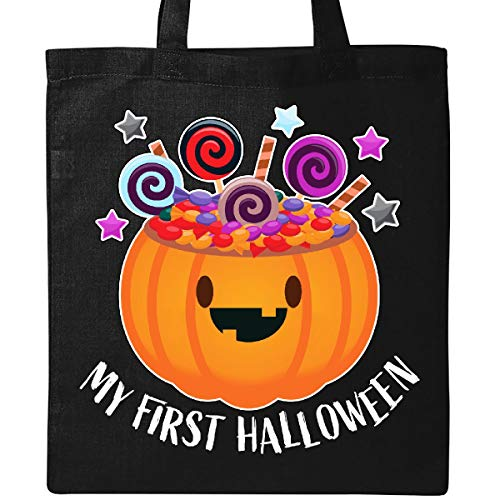 Inktastic - My First Halloween-cute pumpkin with candy Tote Bag Black 31d69
