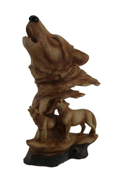 Zeckos Figurine De Loup Hurlant Avec Couple De Loups Apparence De