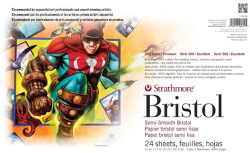 Strathmore ST236-82, 2-Ply Semi-Smooth 500 Series Sequential Art Bristol Paper Sheets, white, 11x17 in by Strathmore
