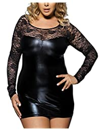 Women Plus size Imitation Leather Long Lace sleeve close-fitting Sexy lingerie