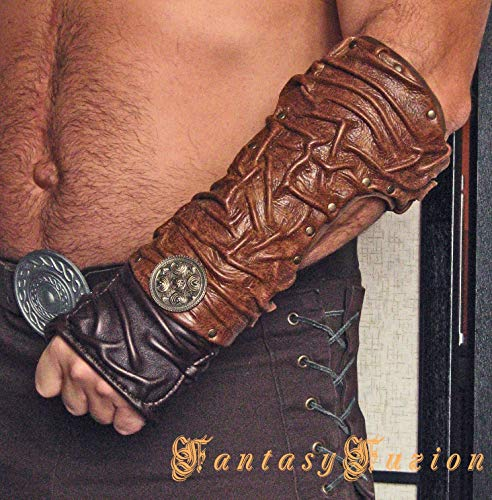 Medieval Gladiator Spartacus Forearm Warrior Armor Single Leather Bracer with Concho -