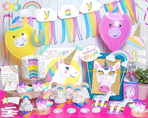 (Set of 84)Rainbow Majesty Unicorn Birthday Theme Party Supplies Pack,Rainbow Unicorn Pegasus Photo Booth Props Kit , cupcake topper for Kid Birthday Party Wedding Birthday Reunions (Happy Halloween Super Simple)