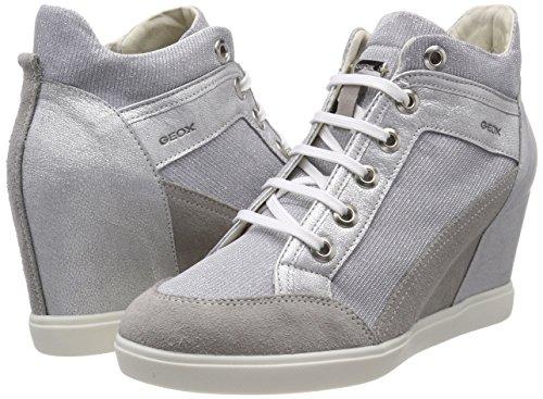 D Collo Grigio Grey silver Alto lt Donna C Geox Sneaker A Eleni dwUdq1T