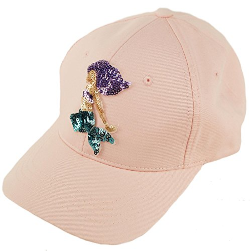 Everyday Cotton Colorful Sequins Mystical Summer Baseball Ball Cap Dad Hat Mermaid, Pink