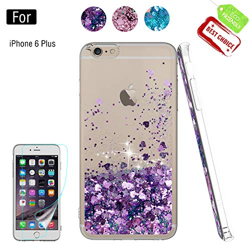 iPhone 6S Plus Case, Girly Cases with HD Screen Protector, Atump Fun Glitter Liquid Sparkle Cute TPU Silicone Protective Phone Cover (5.5 inch) for iPhone 7 Plus/8 Plus/ 6 Plus Purple]()