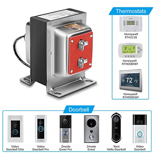 (24V 40VA Thermostat and Doorbell Transformer, Power Supply Compatible with Honeywell Thermostat, Nest Hello Doorbell and All Versions of Ring Doorbell)
