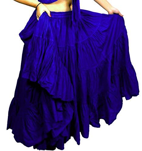 Plain 25 yarda yardas Tribal Belly Dancing Gypsy en coton Jupe de danse ATS L36 pouces variation-Couleur Azul Real