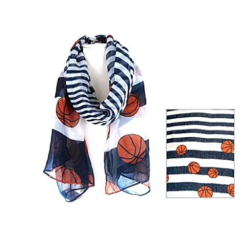 J&C Family Owned Basketball Theme Fashion Scarf Color: Navy/White 72