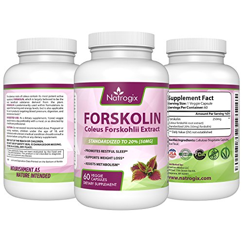 Natrogix 250mg Forskolin Coleus Forskohlii Unearth Extract Dietary Supplement for Weight Loss, 60 Capsules (3 Bottles)