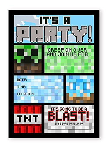 Pixel Party Invitations - 10 Invitations + 10 Envelopes - Made in the USA (Party Minecraft)