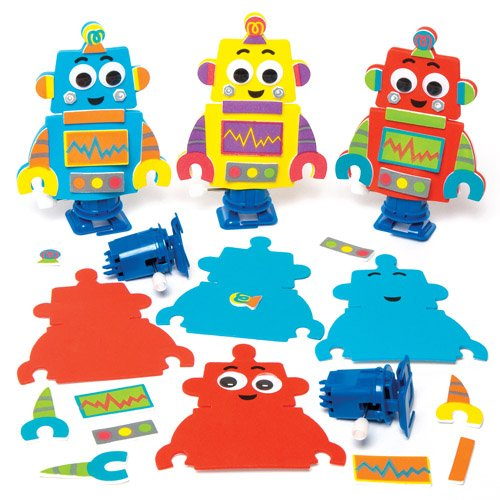 Wind-up Robot Racer Kits for Children to Design Make and Decorate - Creative Craft Toy Set for Kids (Pack of 3) (Yellow Robot)