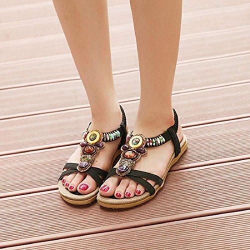 Tongshi Indumentaria femenina dulce con cuentas de clip del dedo del pie de las sandalias Pisos espina de pescado de Bohemia Negro