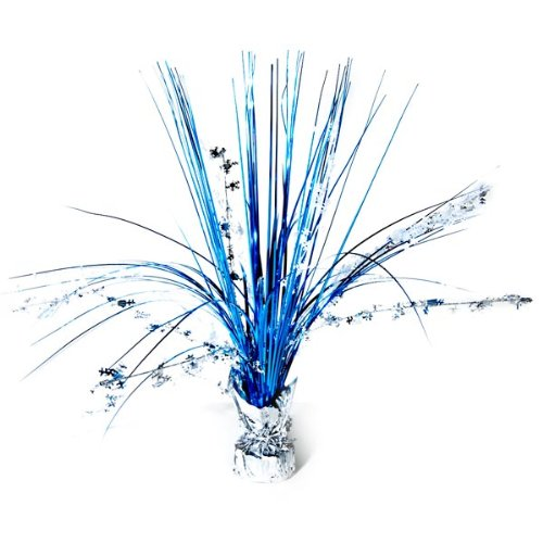 Festive Christmas and Holiday Party Snowflake Foil Spray Centerpiece Decoration, Silver/Blue, Foil , 18