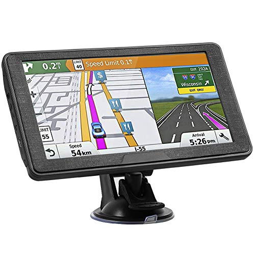 Hieha 7 Inches Navigation System for Car Truck RV Vehicles with Pre-Loaded US/CA/MX Maps, 8GB 256Mb Touch Screen GPS Navigation Device with Car Bracket Holder, Lifetime Free Map Updates