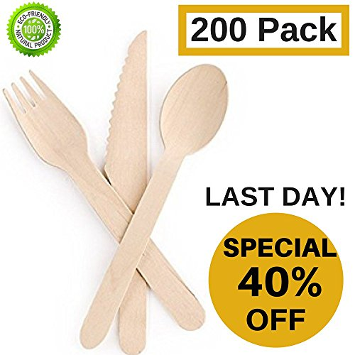 Disposable-Wooden-Cutlery-set-by-Bamboozos-All-Natural-Eco-Friendly-Biodegradable-and-Compostable-Pack-of-200-65-kitchen-utensils-Set-of-100-forks-50-spoons-50-knives