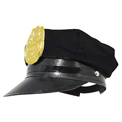 Jacobson Hat Company Police Hat with Bright Gold Plastic Badge: Toys & Games