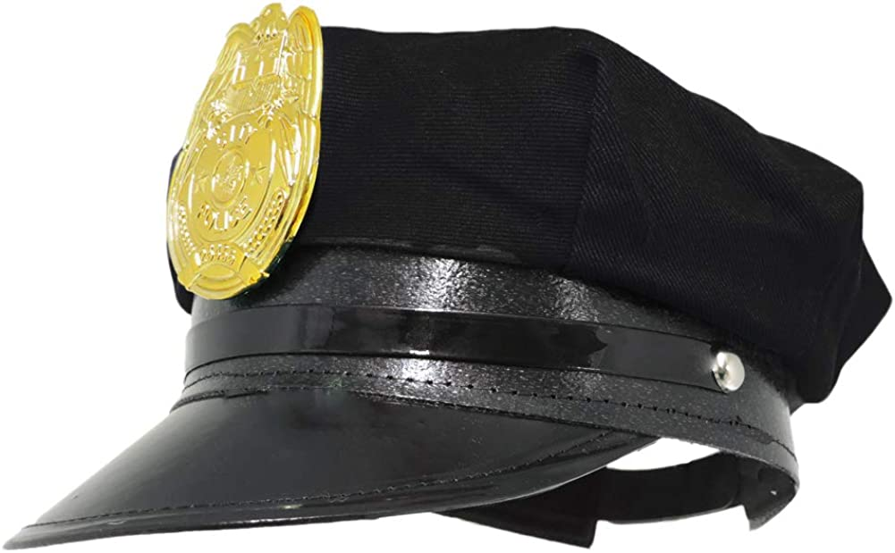 Jacobson Hat Company Police Hat with Bright Gold Plastic Badge