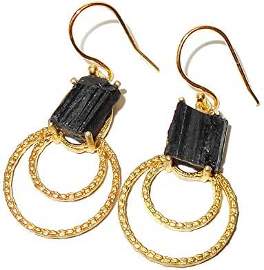 Natural Black Tourmaline Gemstone Dainty Earrings With 18k Gold Plated
