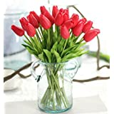 TRUST® 10Pcs/Bag High Quality PU Holland Mini Tulip Artificial Flower Real Touch for Wedding,Room,Home,Hotel,Party Decoration and Holiday Gift (red)