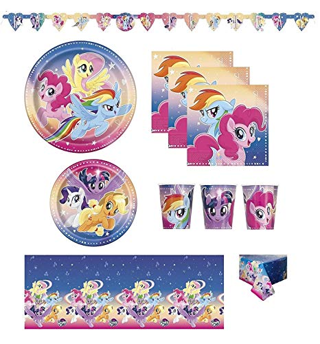 FAKKOS Design My Little Pony Birthday Party Supplies Pack for 16 Guests Including: Banner, Table Cover, Large and Small Plates, Napkins and Cups -