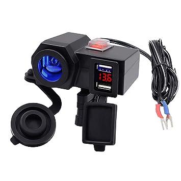 12 V Motorrad Zigarettenanz/ünder Dual USB Steckdose Ladeger/ät Adapter On Off Schalter Lenker Klemme f/ür Handys//Tablets//GPS