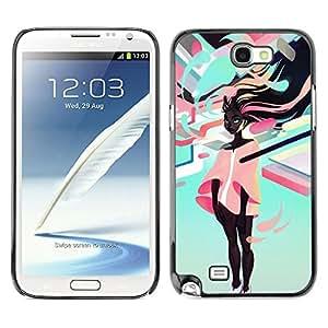 Caucho caso de Shell duro de la cubierta de accesorios de protección BY RAYDREAMMM - Samsung Note 2 N7100 - Neon Girl Negro