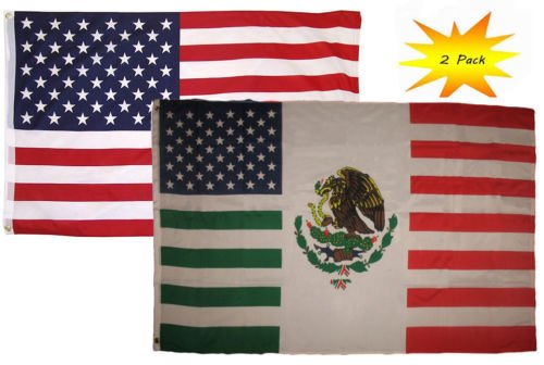 Best Friend Usa Flag (3x5 3'x5' Wholesale Set (2 Pack) USA American USA Mexico Friends Flag Banner BEST Garden Outdor Decor polyester material FLAG PREMIUM Vivid Color and UV Fade Resistant)