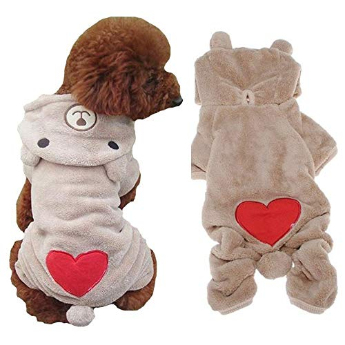 FuzzyGreen Dogs Outfits, Cute Bear Costume Jumpsuit Hoodie Clothes Apparel for Dog Pets (XL, Light Coffee) -