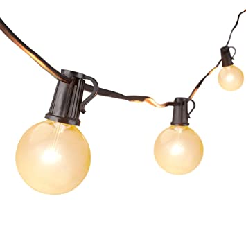 Guirnarldas Blancas de Luz Cálida LED Luces del Efecto Estrellado, 762 cm Guirnaldas de bombillas,Guirnalda de 25 Bombillas LED G40, transparentes, ...