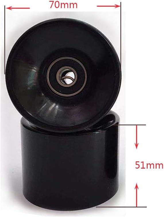 ABEC-9 Bearing Steel and Spacers Cruiser Wheels,Black Pack of 4 YTKD 70mm Skateboard Wheels 80a
