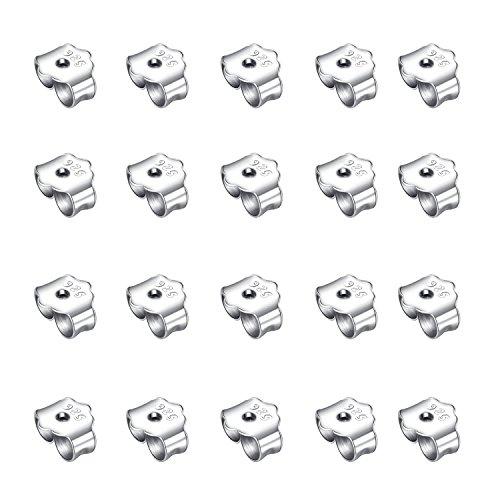 Honbay 20PCS 925 Pure Silver Ear Plugs Sterling Earring Backs for 20 Gauge Posts